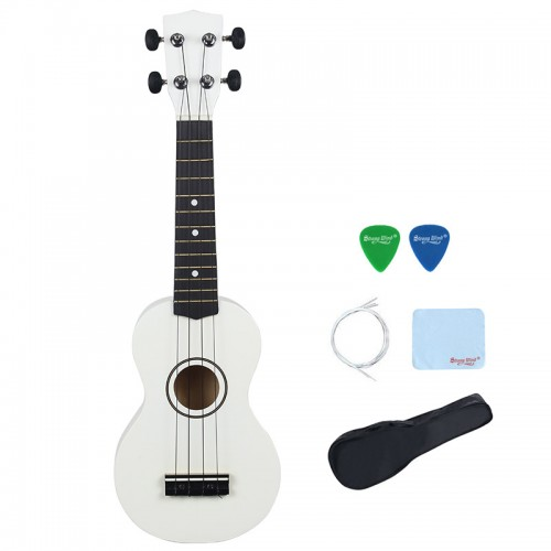 Strong Wind White Soprano Ukulele For Kids & Adults
