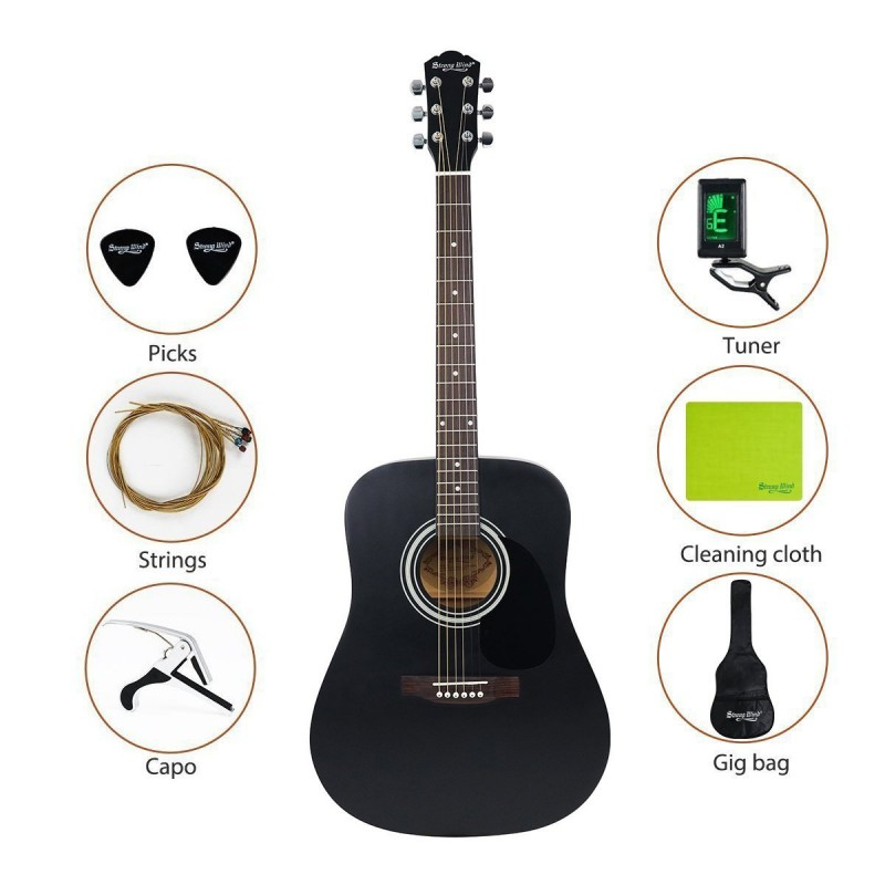 strong wind 41 inch professional steel string acoustic guitar full size. Black Bedroom Furniture Sets. Home Design Ideas